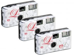 Wegwerpcamera met flits 'liebe' 400 ISO 27 opnames 3 pack